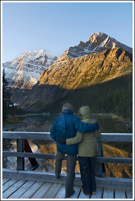 Tourists, Mt Edith Cavell, Jasper National Park, Alberta, Canada.