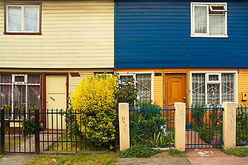 Colorful duplex and garden, Orsono, Chile.