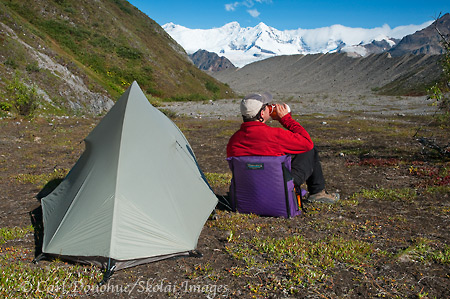 Campsite at the Fosse, near Kennicott Glacier, Wrangell - St. Elias National Park and Preserve, Alaska.