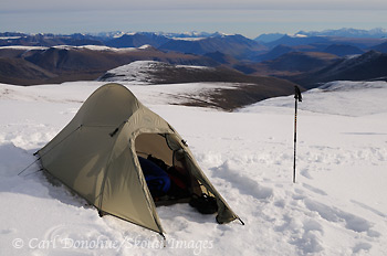 Big Agnes Seedhouse SL1 campsite on snow, near Mt Jarvis, alpine tundra, Wrangell - St. Elias National Park and Preserve, Alaska.