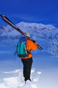 Backcountry skiing near Mt. Blackburn, Wrangell - St. Elias National Park, Alaska.